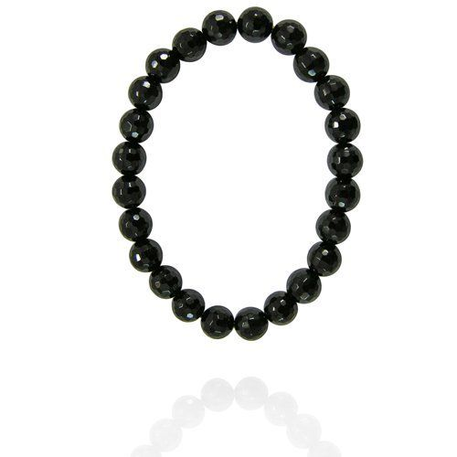 "8mm Faceted Round Black Onyx Bead Bracelet, 7.25"" Amazon Curated Collection. Save 61 Off!. $12.00. Made in China"