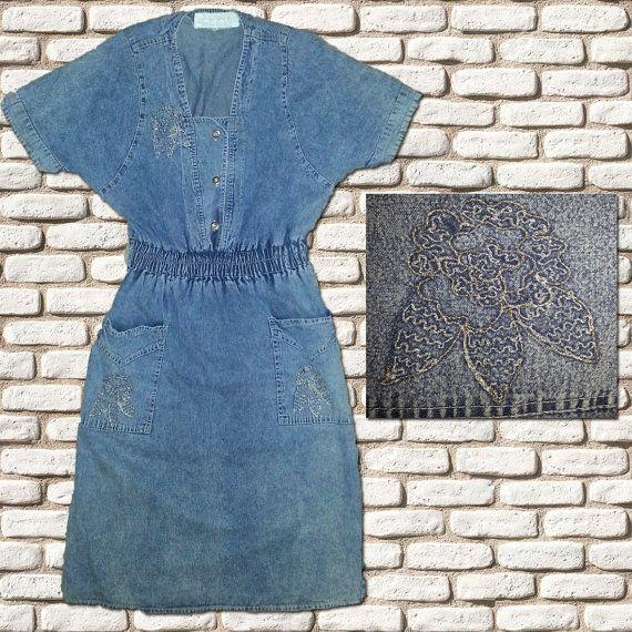 Elasticated Waist Denim Day Dress by BessieMidge on Etsy, £22.00