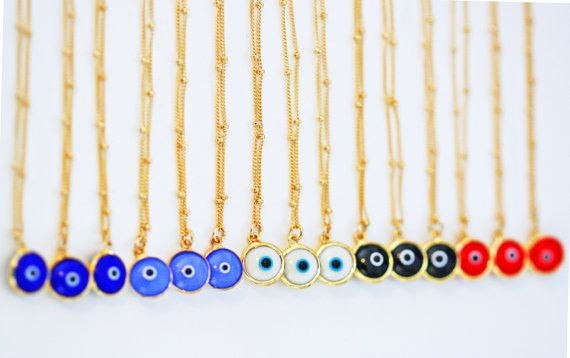 white evil eye necklace by keijewelry on Etsy
