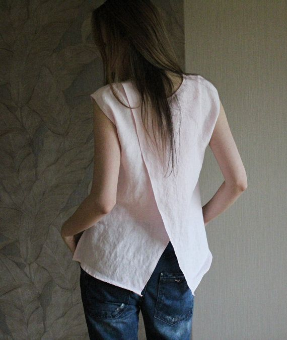 Linen pale pink summer blouse / flax top for woman. Modern summer flax cloth handmade by Linen Mile