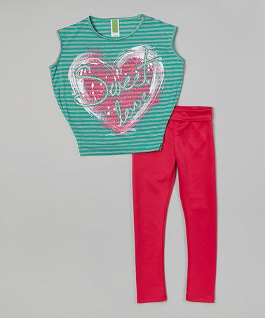 Look what I found on #zulily! Mint Stripe 'Sweet Love' Top & Pink Leggings - Girls #zulilyfinds