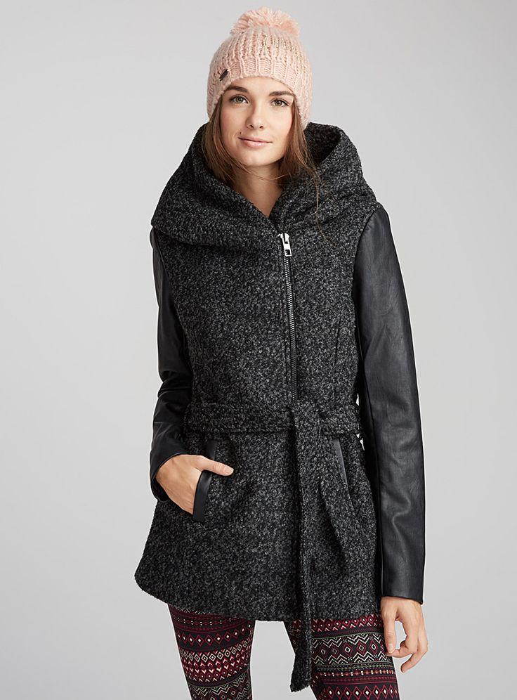 Le manteau laine bouclée - Lainage - Gris