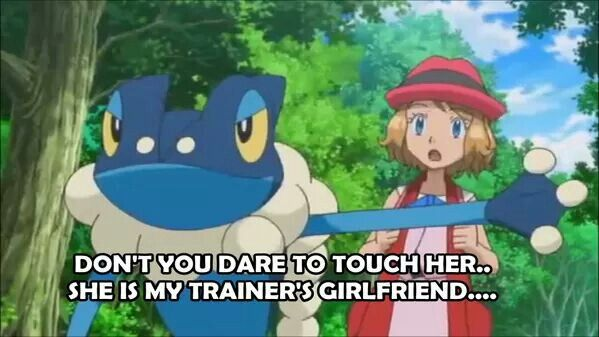 Serena with Ash's Frogadier ^_^ ^.^ ♡ I give good credit to whoever edited this