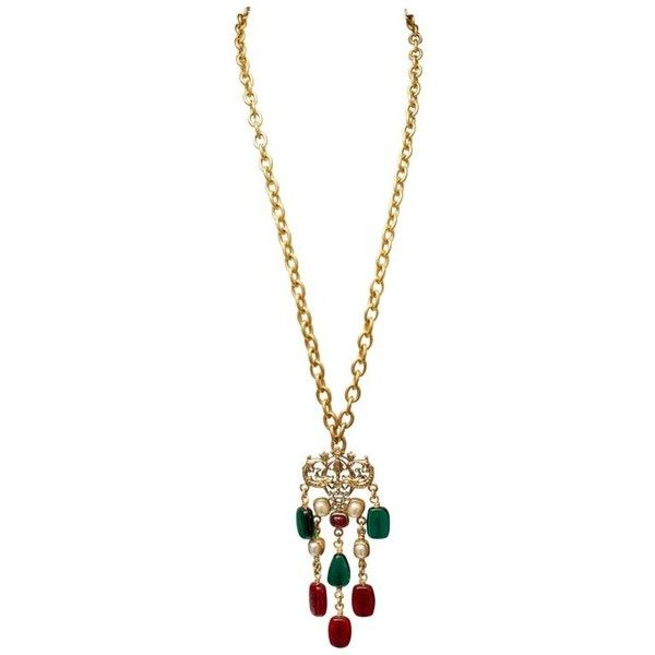 Preowned 1985 Chanel Long Necklace With A Baroque Glass Paste Pendant (26.316.395 IDR) ❤ liked on Polyvore featuring jewelry, necklaces, beige, pendant necklaces, glass cabochon pendant, cabochon necklace, chanel pendant, long pendant and chanel jewelry