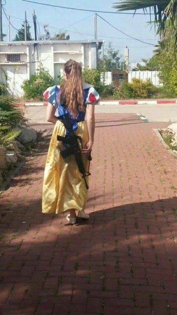 44 Totally Crazy #OnlyInIsrael Moments; #OnlyInIsrael can you see Snow White walking around with an M16 assault rifle on her back on Purim.