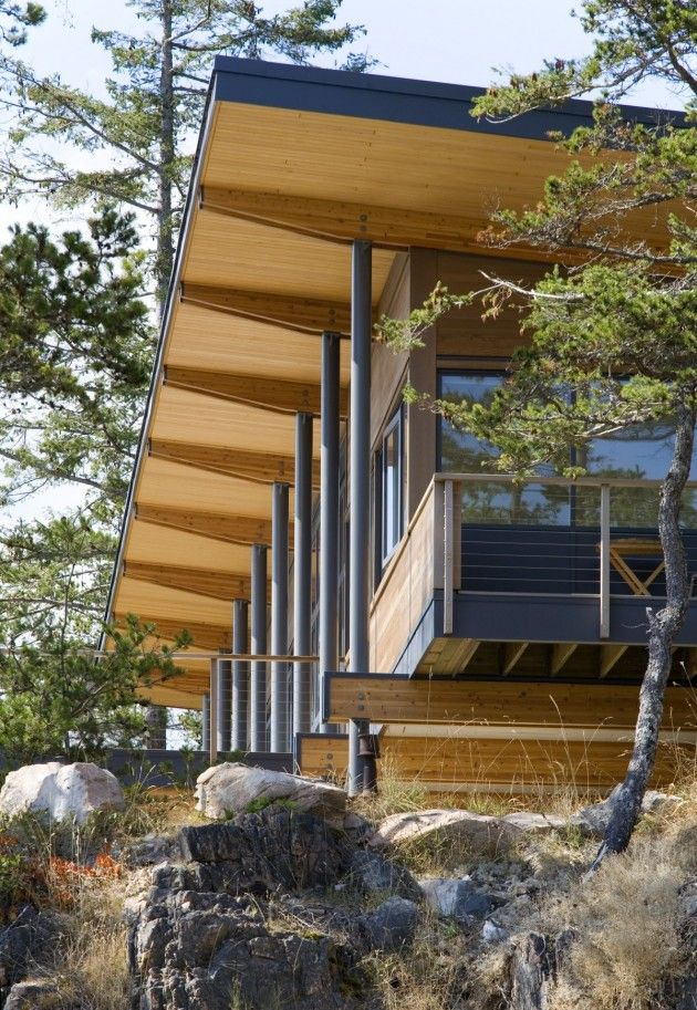 Wooden roof design at modern wooden house design in cortes island