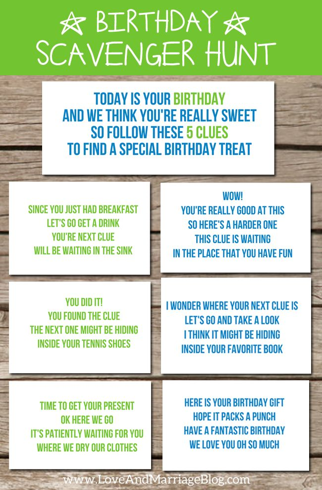 Birthday Scavenger Hunt With Free Printables Birthday Scavenger