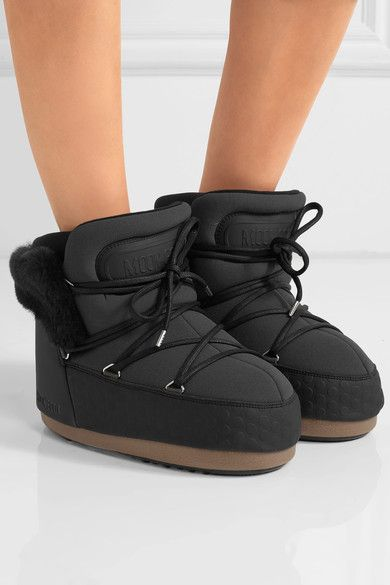 Moon Boot - Buzz Faux Fur-trimmed Neoprene And Faux Leather Snow Boots - Black - 35-36