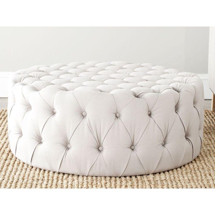 Safavieh Charlene Taupe Linen Fabric Ottoman (MCR4638A), Grey