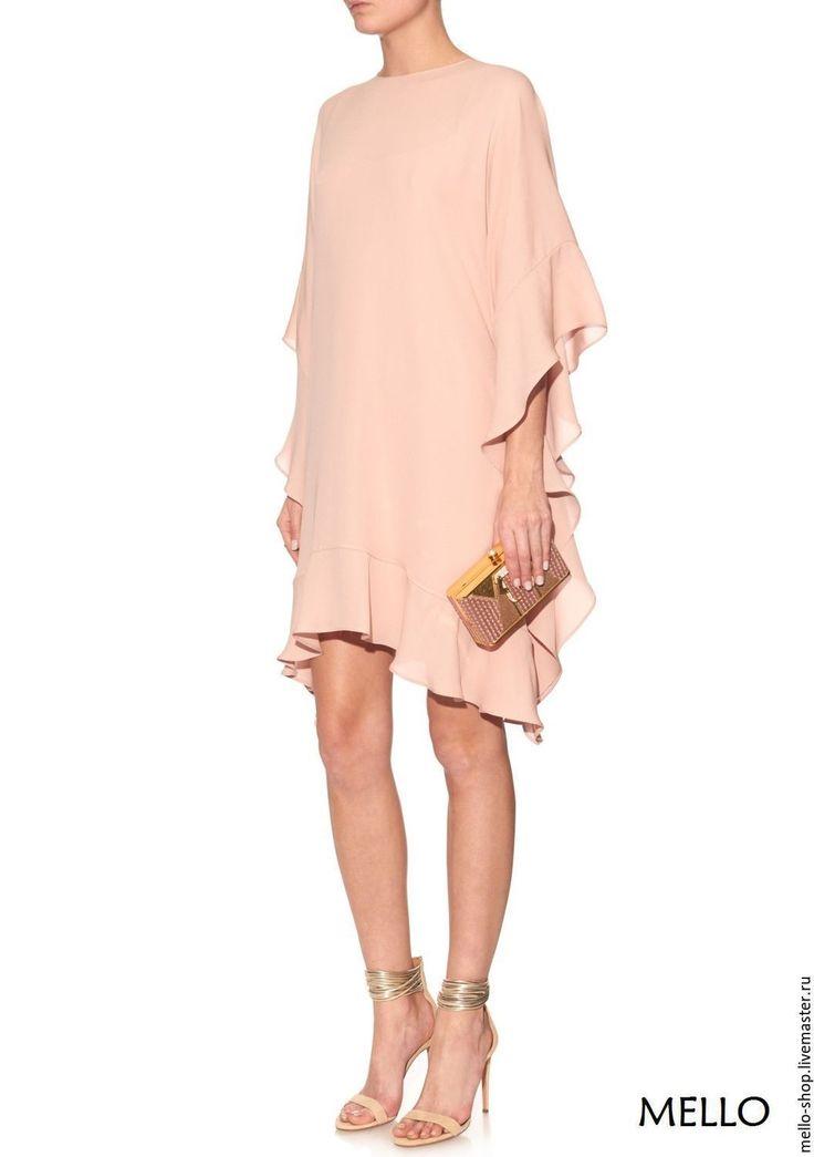 Купить Платье вечернее из крепа с рюшами от MELLO. Платье. Платье розовое - платье до колена платье