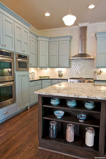 pretty soft blue/ grey cabinets paired with white and stainless - very inviting kitchen