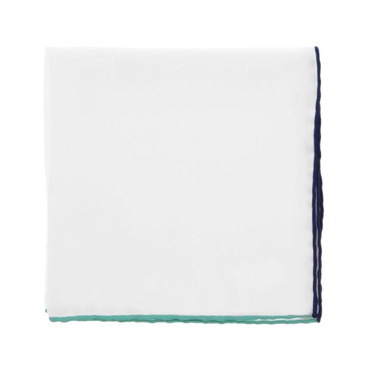 Pochette blanche à ourlets corail et bleu marine - Saint-Tropez