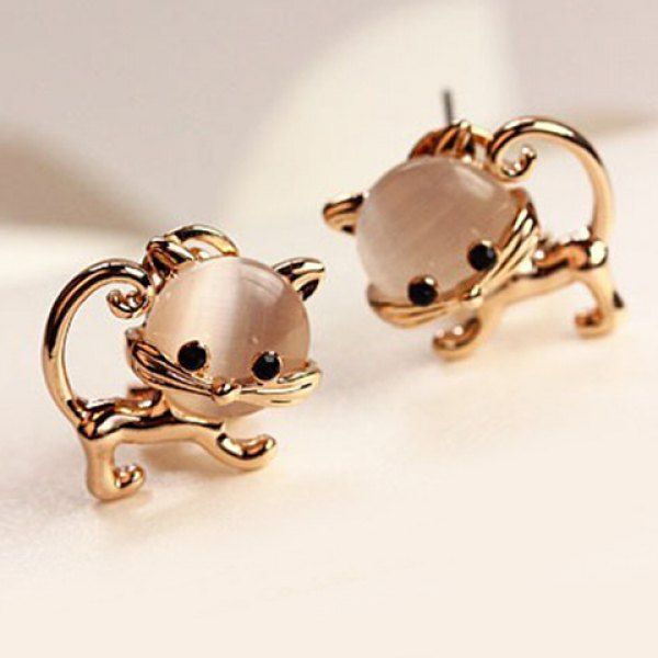Pair of Cute Faux Opal Embellished Kitten Earrings For Women, AS THE PICTURE in Earrings | DressLily.com