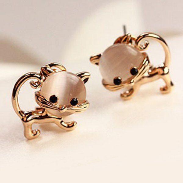 Pair of Cute Faux Opal Embellished Kitten Earrings For Women, AS THE PICTURE in Earrings | DressLily.com