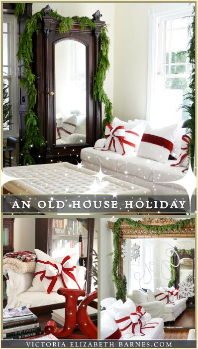 Add DIY bows to your throw pillows & our Victorian home decorated for  Christmas Take