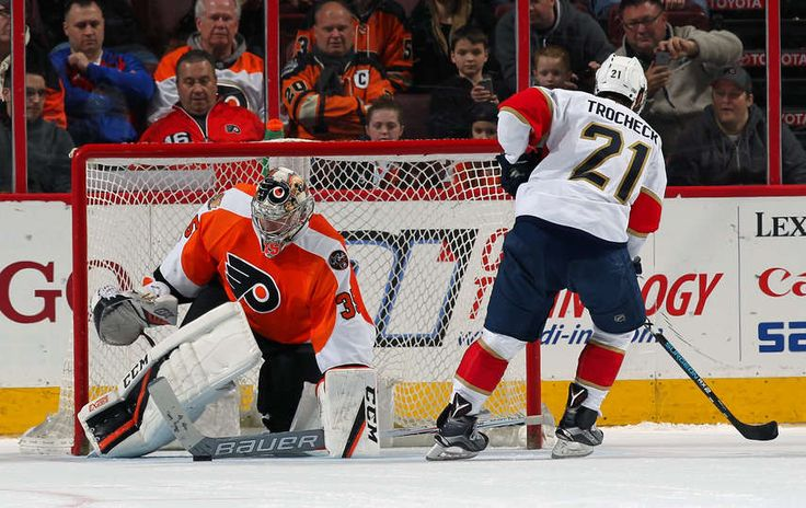 PHILADELPHIA, PA - MARCH 02: Steve Mason #35 of the Philadelphia Flyers makes a stick save against Vincent Trocheck #21 of the Florida Panthers in the shootout on March 2, 2017 at the Wells Fargo Center in Philadelphia, Pennsylvania. The Flyers went on to defeat the Panthers 2-1 in a shootout. (Photo by Len Redkoles/NHLI via Getty Images)