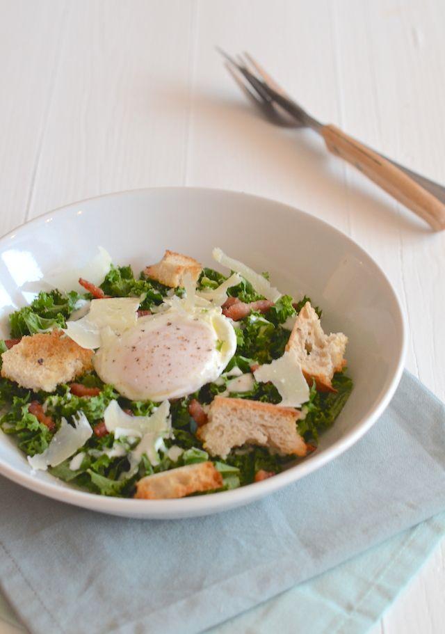 caesar salade with cale, met boerenkool