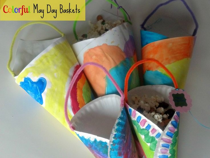 May Day Baskets  Made with paper plates and pipe cleaner.