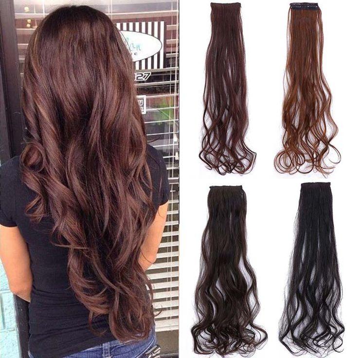 머리 확장 여성의 긴 곱슬 긴 2 클립 곱슬 가발 자연 가짜 머리 클립 코스프레 가발