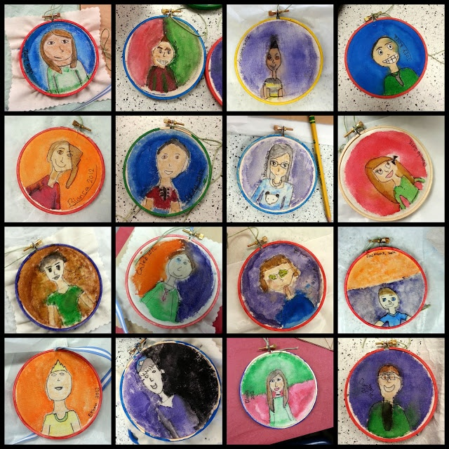Student self portrait ornaments as gift to parents.
