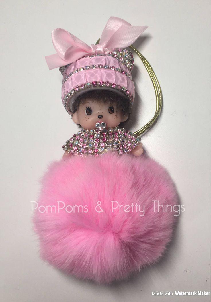 MonChiChi, MonChiChi Charm, PomPom MonChiChi, Hanging Decoration, Car Mirror Charm, Baby Shower Gift, Christening Gift, by PomPomsPrettyThings on Etsy https://www.etsy.com/uk/listing/540579183/monchichi-monchichi-charm-pompom