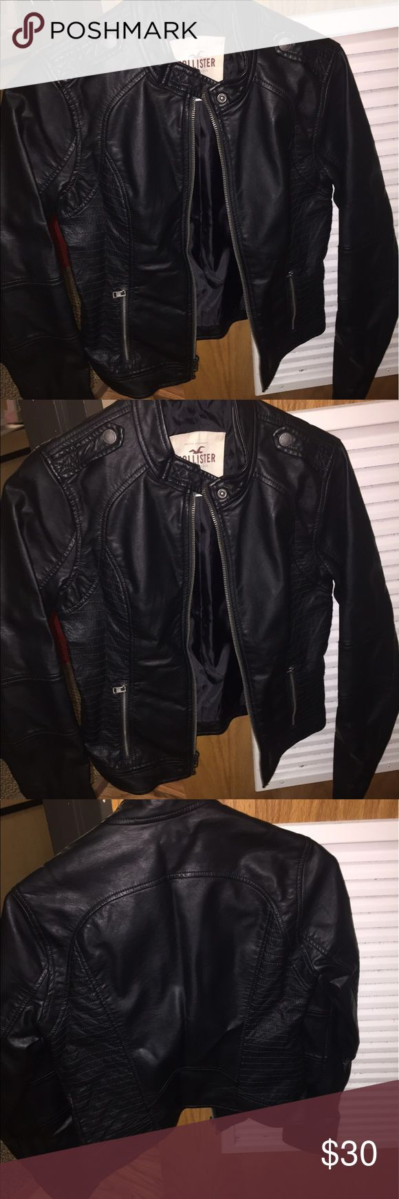 Black leather Hollister jacket size small I've only worn it twice- good condition just a couple strings! Hollister Jackets & Coats