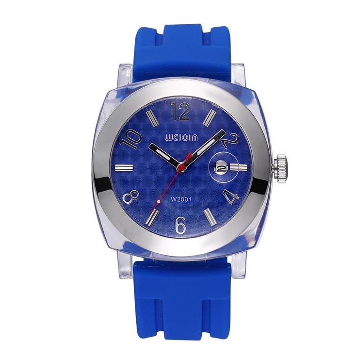 WEIQIN Date Plastic Silver Alloy Soft Silicone Strap Casual Sports Watches Men Women Shock Water Resistant Brand Fashion Watch