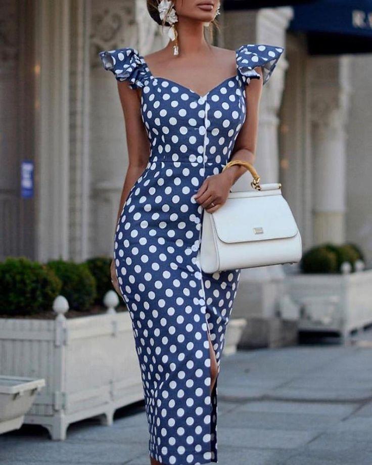 Polka Dot Rüschen Ärmel Schlitz Kleid (S/M/L/XL)…