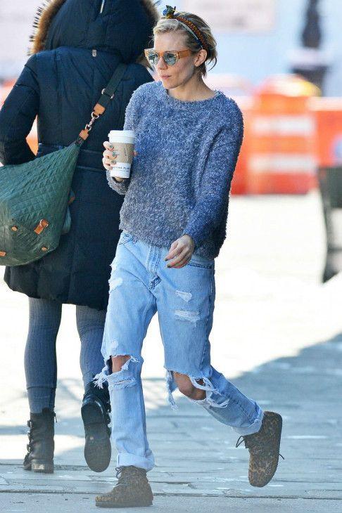 Sienna Miller New York City March 8 2015 | Sienna Miller wearing Isabel Marant Flavie Leopard Print Calf Hair Moccasin Boots