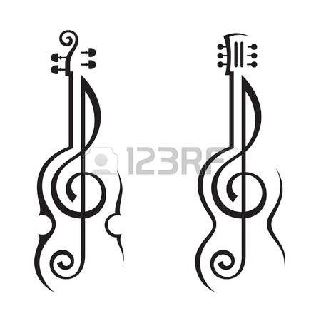 klucz wiolinowy: skrzypce, gitara i klucz wiolinowy