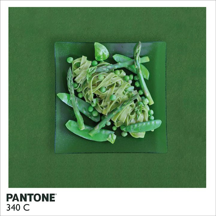 Inspired by these tiny swatches and their corresponding numbers, artist Alison Anselot created Pantone Food. The project features variations on the typical pantone swatch, in which the Belgium-based artist uses food to complement the corresponding shades.