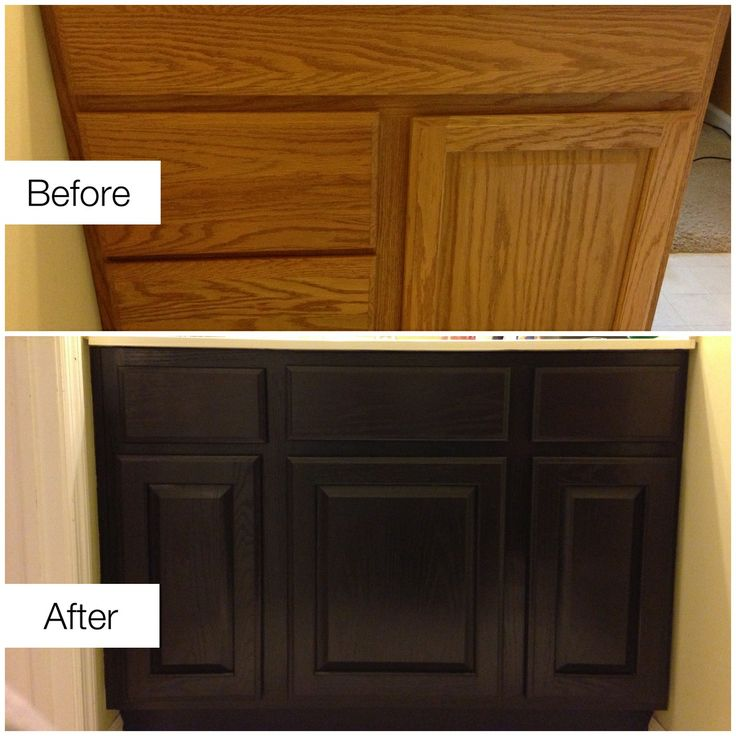 Before & After Staining Ugly Golden Oak Cabinets