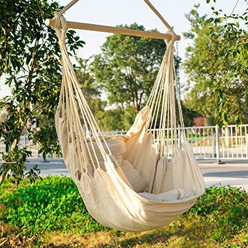 Hammock Chair Swing Patio Durable Hanging Rope Relax Lounge Seat Outdoor Garden #HammockChairSwing