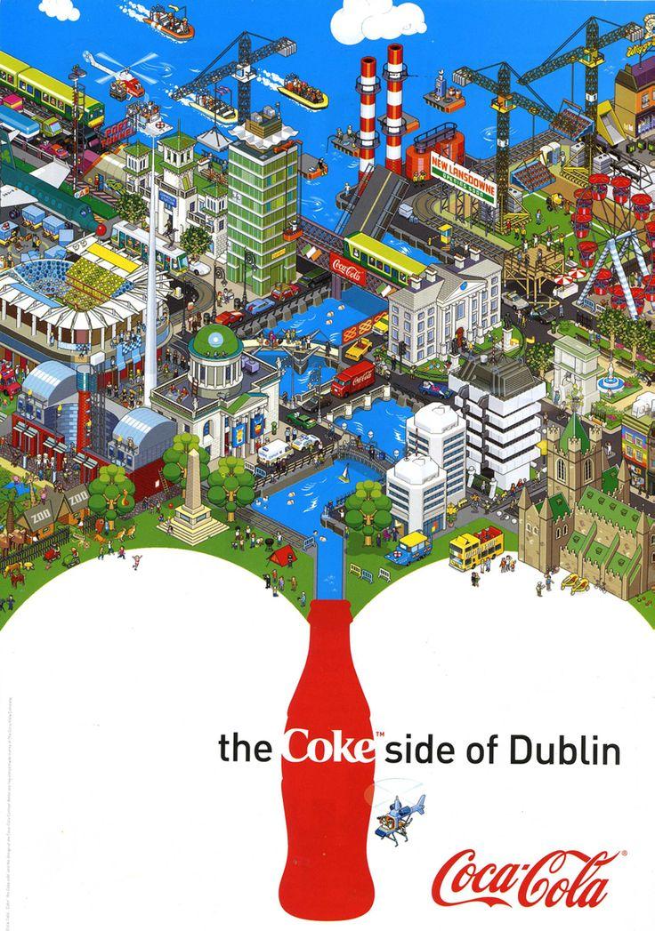 DublinMansions House, Coke Side, Picture-Black Posters, Coca Cola, Cola Coke, Art Posters, Pixel Art, Cocacola Stu, Cocacola Posters