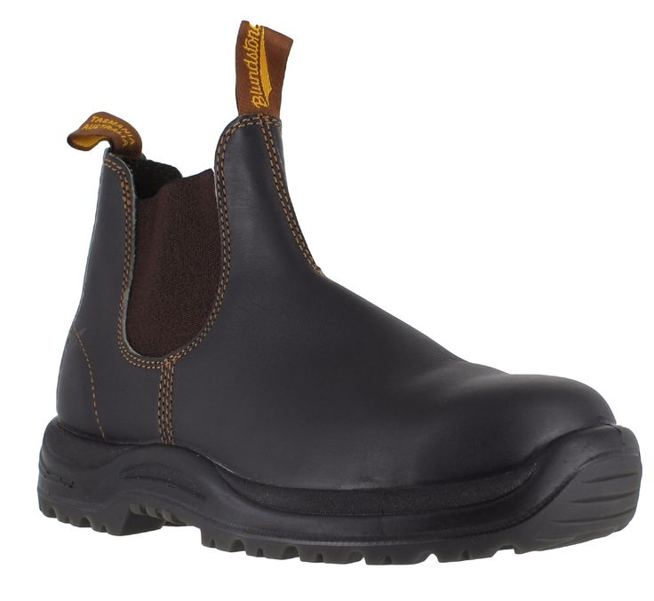 Men's Blundstone brown leather steel toe cap safety boots available in sizes  7 - 13 on