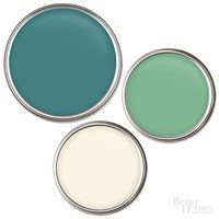 Bold and Daring Clockwise from top: Teal Zeal, B58-5, Olympic; Arsenic, 214, Farrow & Ball; Vanilla Ice Cream, 2154-70, Benjamin Moore.