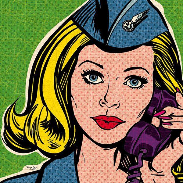 Fly with me. Flight attendant / stewardess pop art.