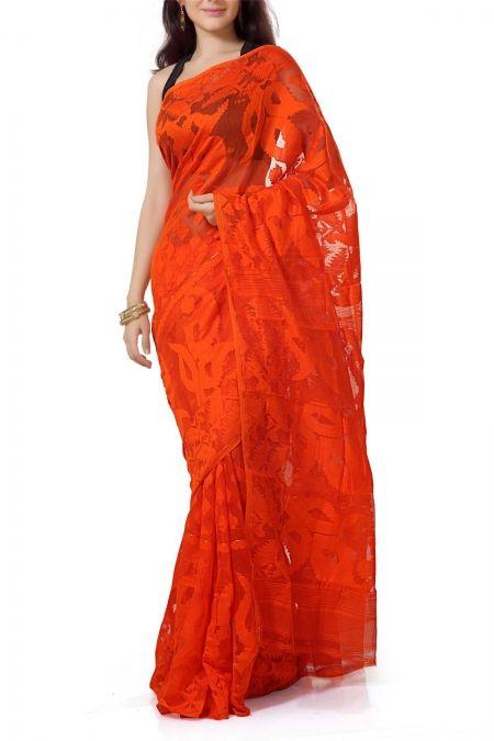Orange Dhakai Cotton Jamdani Saree