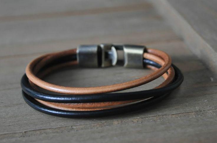 genuine LEATHER bracelet tan black cuff bronze hook vintage retro surfer gift