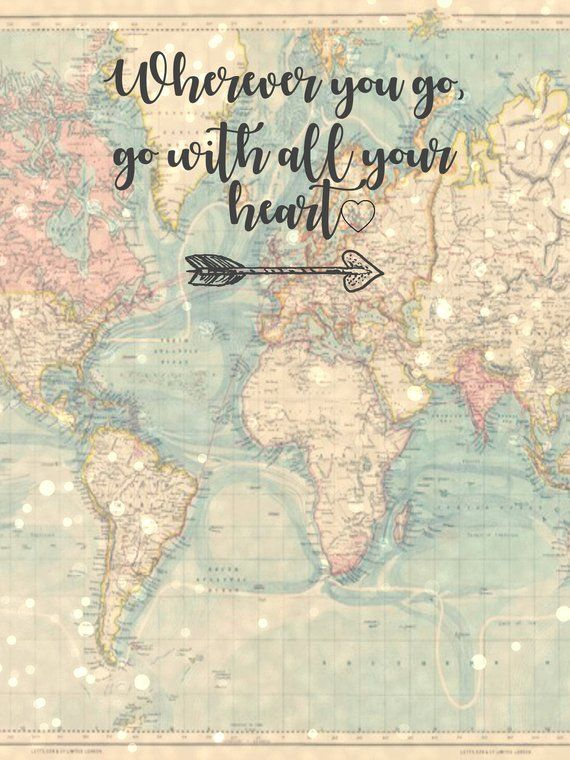 Vintage Map 3ft X 4ft Digital Printable Photo Booth Backdrop Wherever You Go Go With All Your Photo Booth Travel Themes Quote Prints