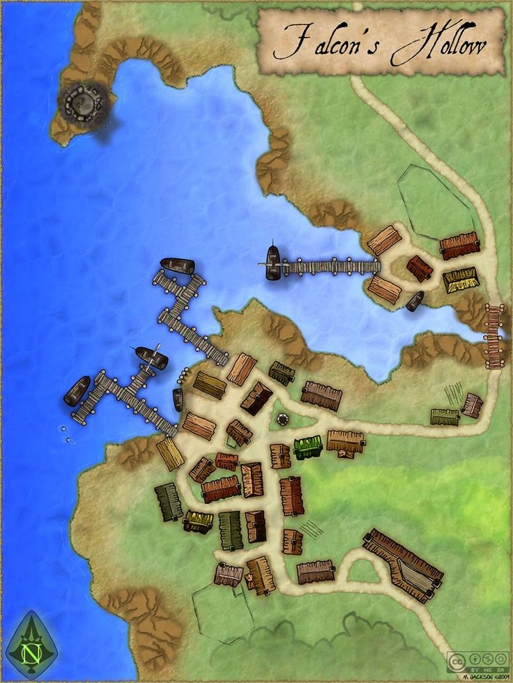 """Falcon's Hollow"" A small town map."