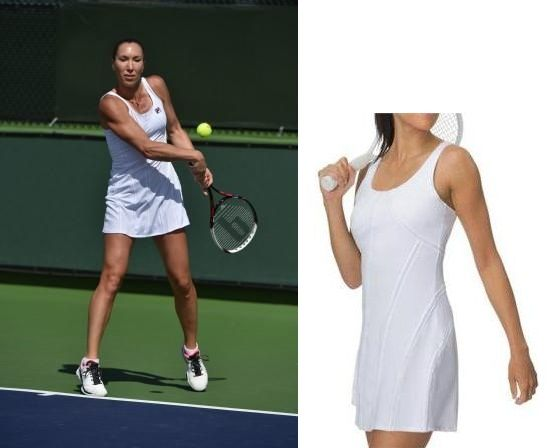 Jelena Jankovic's #Fila #Lawn dress for #Wimbledon 2015