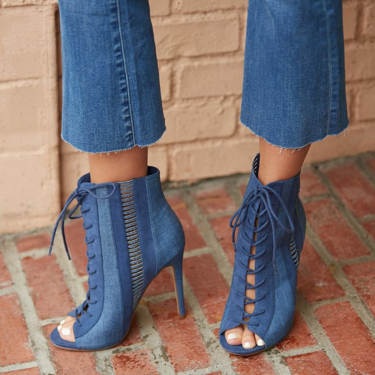 Date night with Kamille and her opened-toed jean booties. #jeanbooties #bootielovers