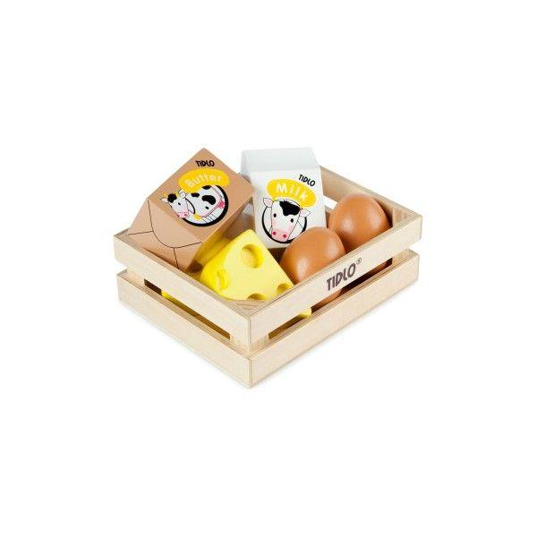 De Krat Bevat 2 Eieren Stukken Kaas Boter En Melk Om In