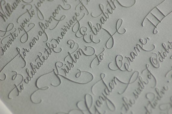 Custom Calligraphy Letterpress Wedding by DancingPenandPress, $100.00