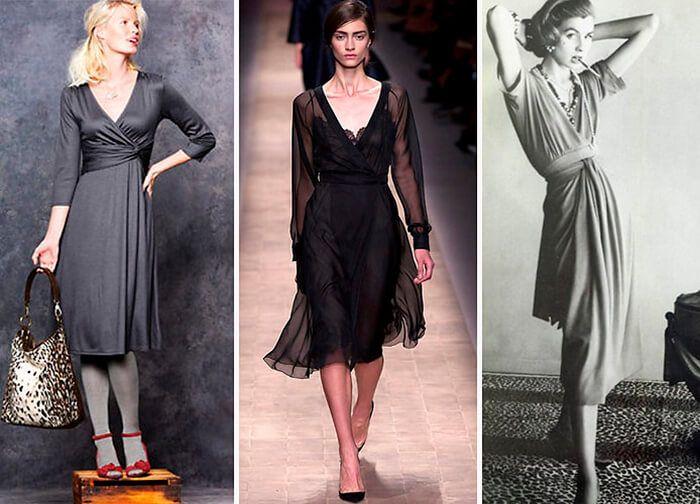 Платье с запахом  Усложнённый вариант домашнего халата с запахом. Первой эту находку выявила американская Коко Шанель – Диана фон Фюрстенберг в 1972 году. Стимулом на создание великолепного, повседневного платья, послужил развод с мужем королевских кровей. В начале платье шилось из хлопка с вискозой, ярких расцветок, с цветочными принтами и глубоким вырезом.