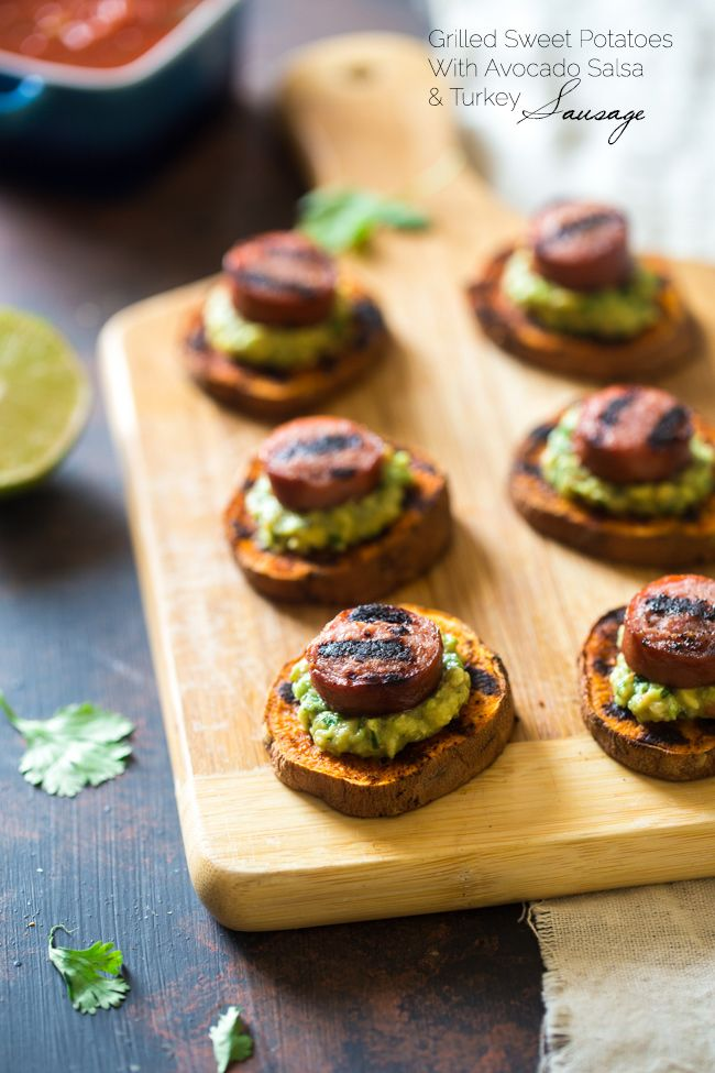 Spicy Grilled Sweet Potatoes with Avocado Salsa and Turkey Sausage {Gluten Free + Super Simple}