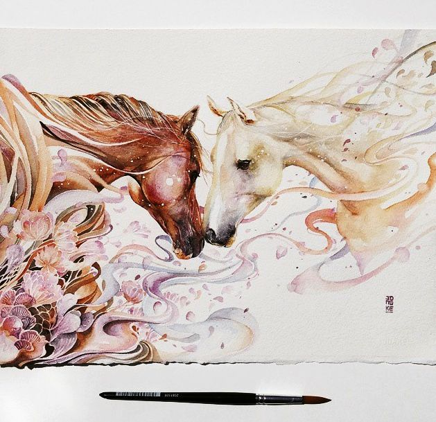 horse watercolor painting by Luqman Reza Mulyono J…