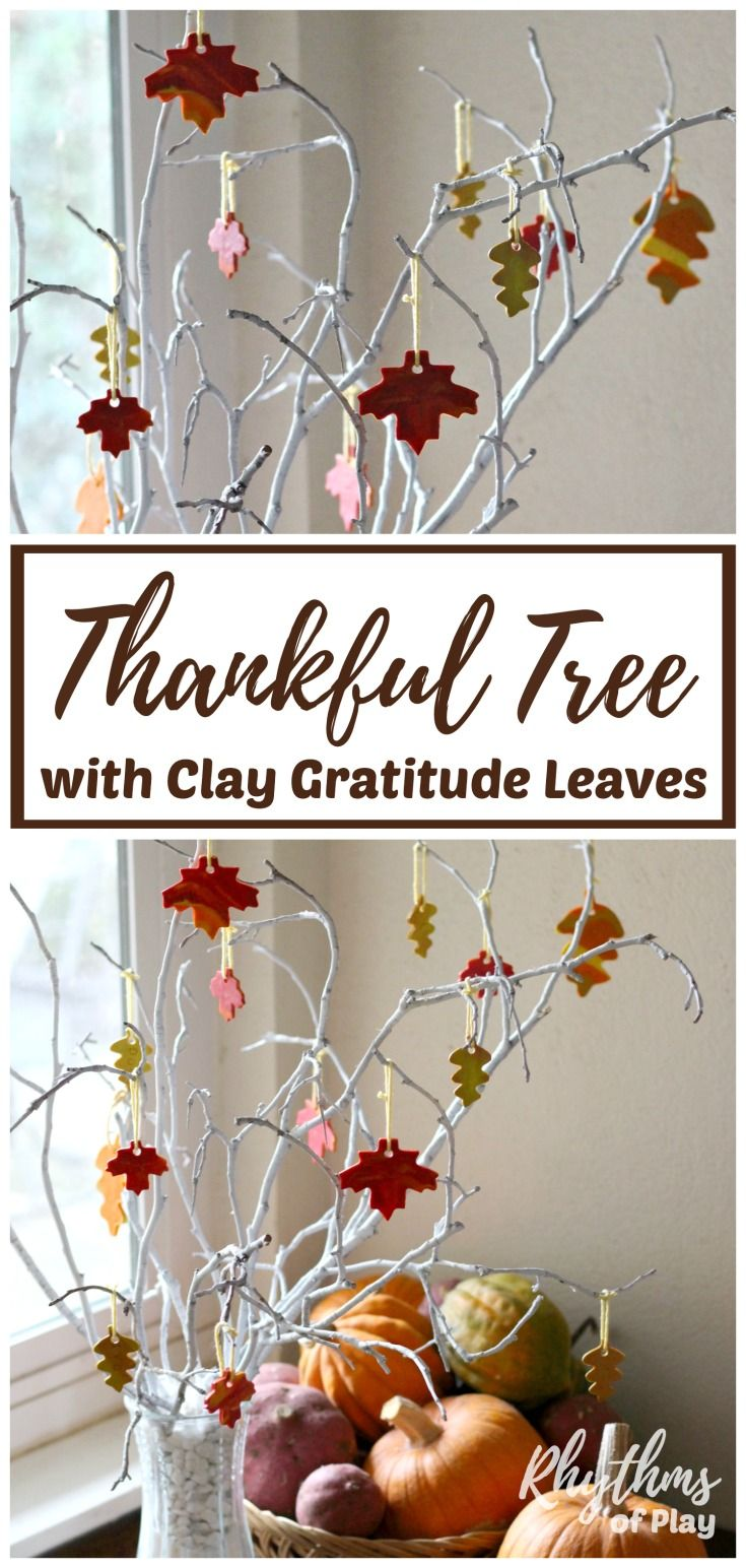 Learn how to make a thankful tree with clay gratitude leaves to remind your family of the true meaning of Thanksgiving. Creating and decorating a thankful tree with hand stamped marbled clay autumn leaves is a gratitude craft and activity kids and adults can enjoy together. DIY fall home decor and a unique centerpiece for your Thanksgiving table.