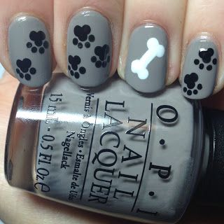 The Nail Trail: Day 24 - Paw prints nail art!